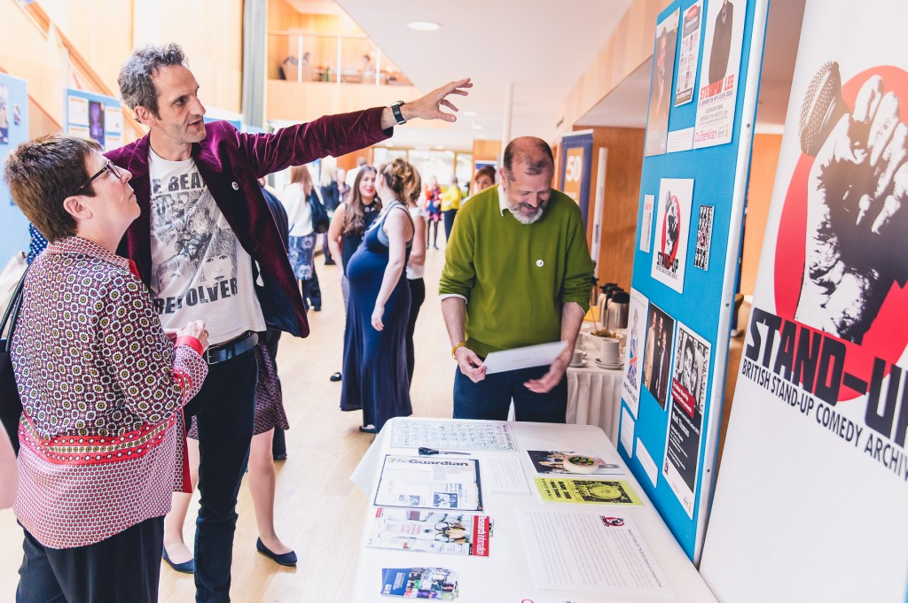 Olly Double describes the Stand-up Comedy Archive to the Vice-Chancellor