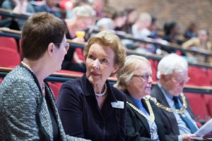 L-R: Professor Dame Julia Goodfellow, Amanda Cottrell, Lord Mayor Cllr Sally Waters and Lord Mayor Escort Robert Waters.