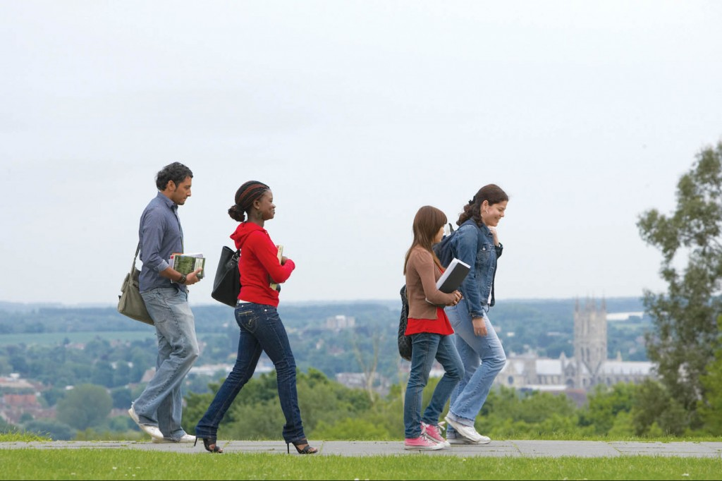 Students walking on Canterbury campus