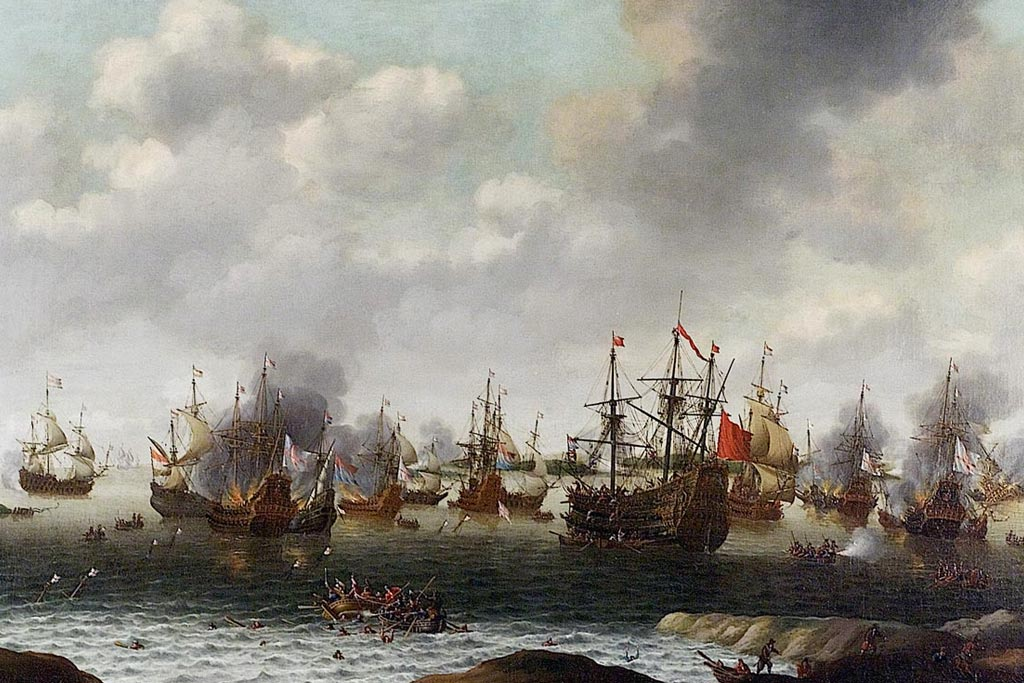 sailing ships in battle on the Medway River