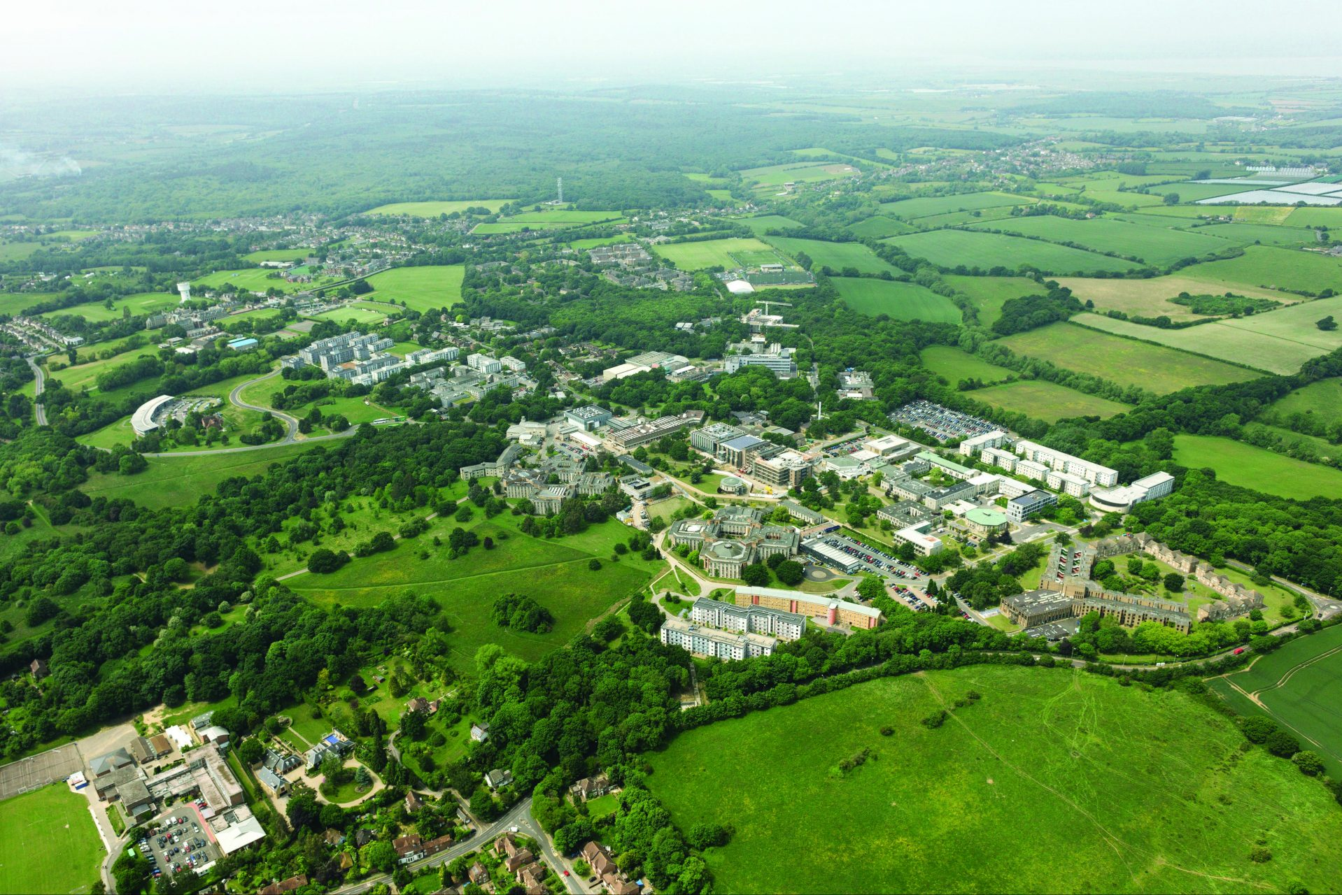 Aerial photograph of Canterbury campus