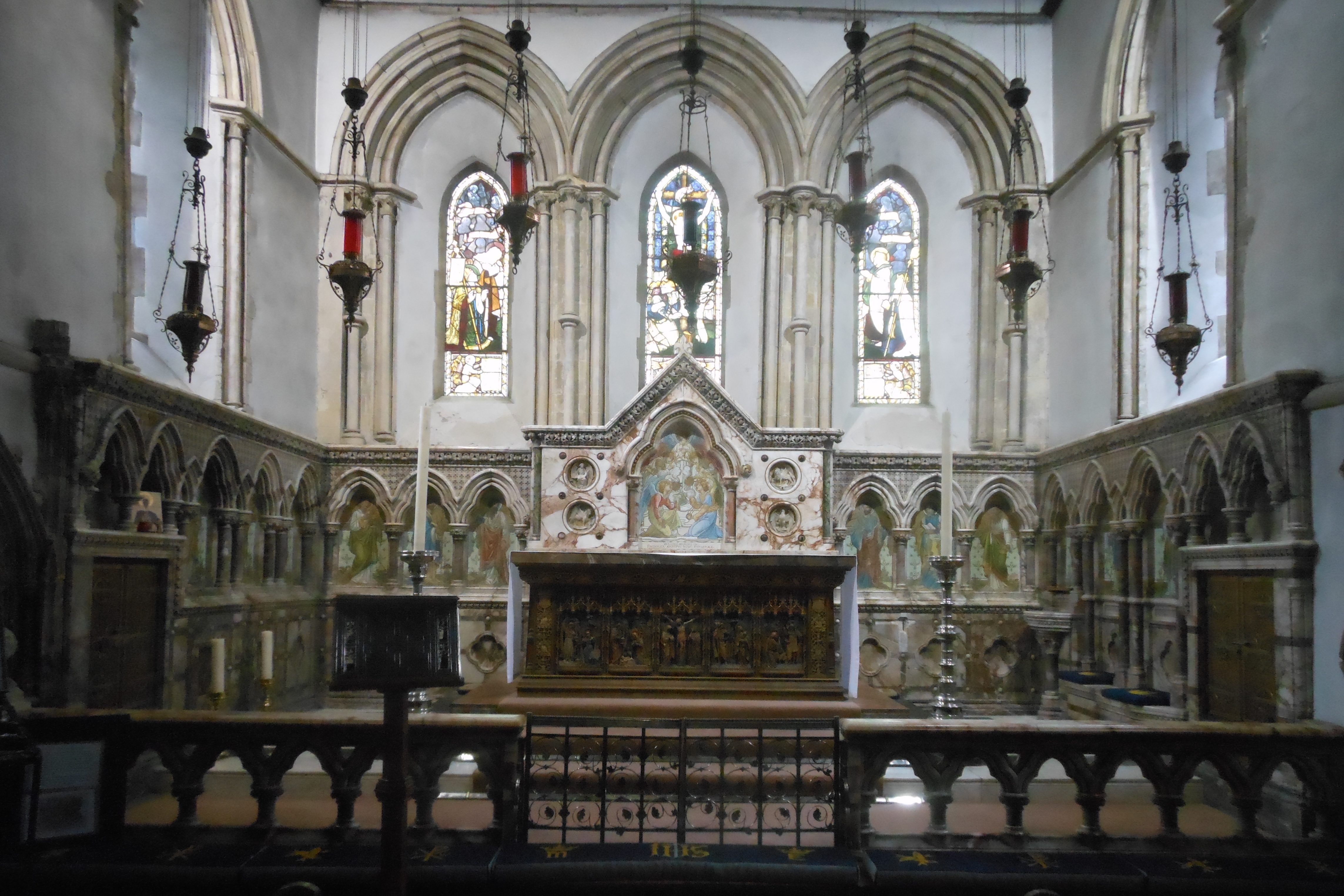 Wide view of a church altar area