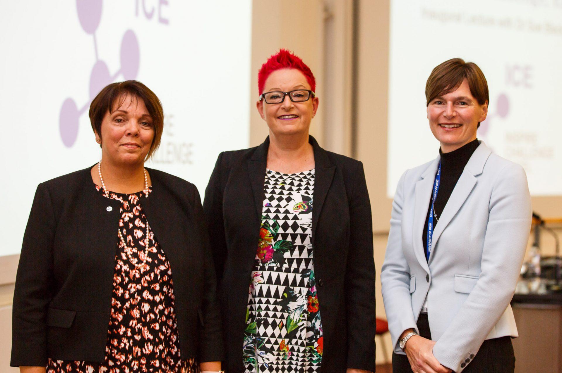 Portrait of Dr Sue Black with Vice-Chancellor Professor Karen Cox and Carole Barron.