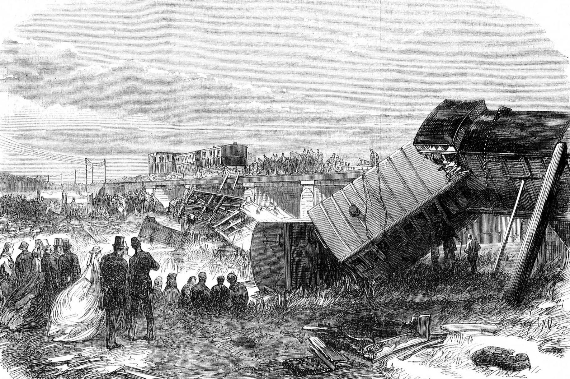 The Staplehurst Railway crash, witnessed by Charles Dickens