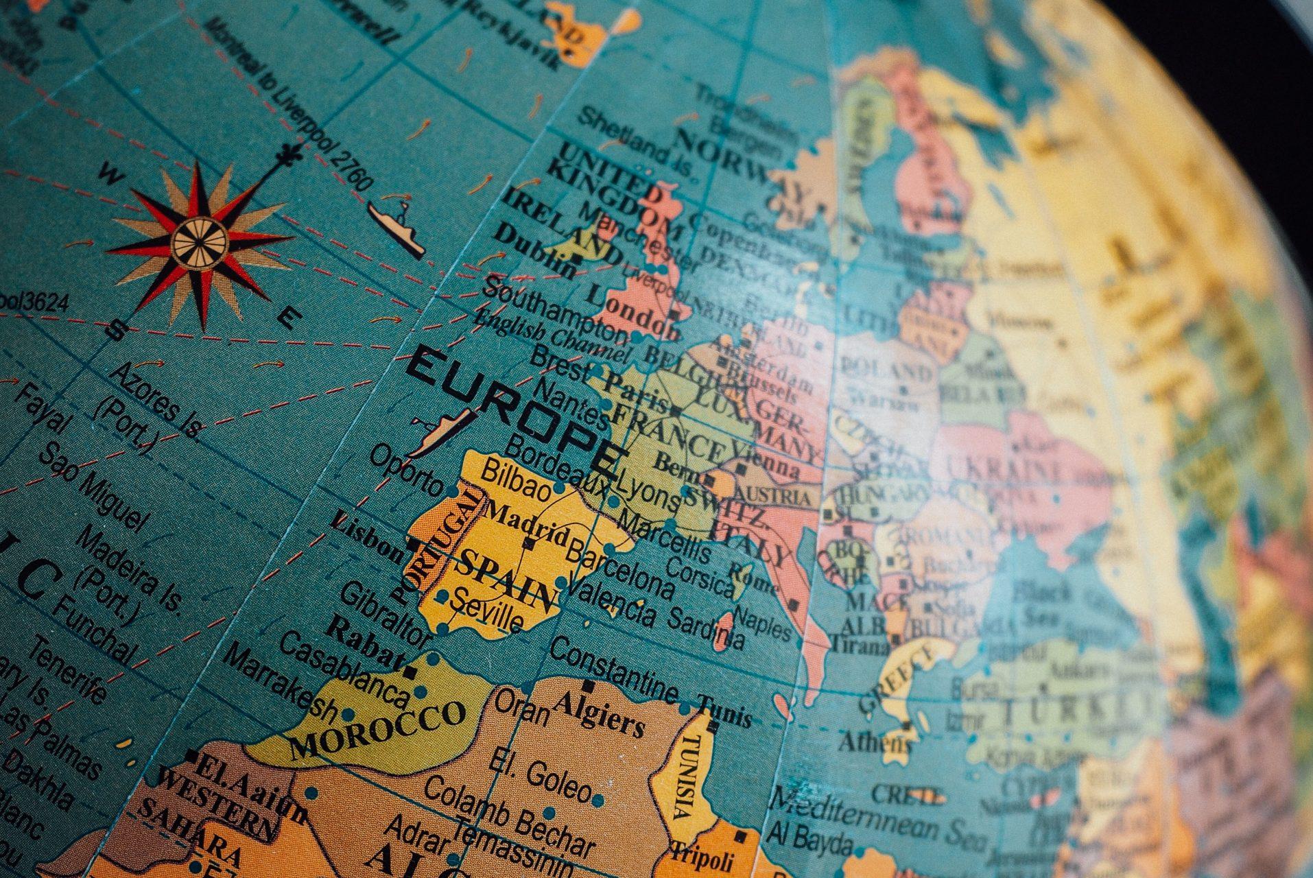 Europe shown on a globe