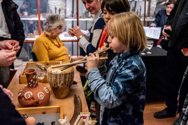 Visitors can play ancient musical instruments at London exhibition