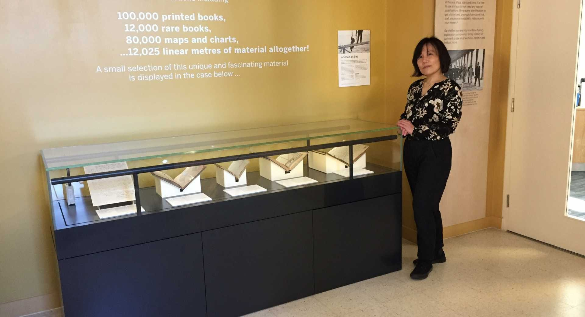 Dr Kaori Nagai with display at the National Maritime Musuem