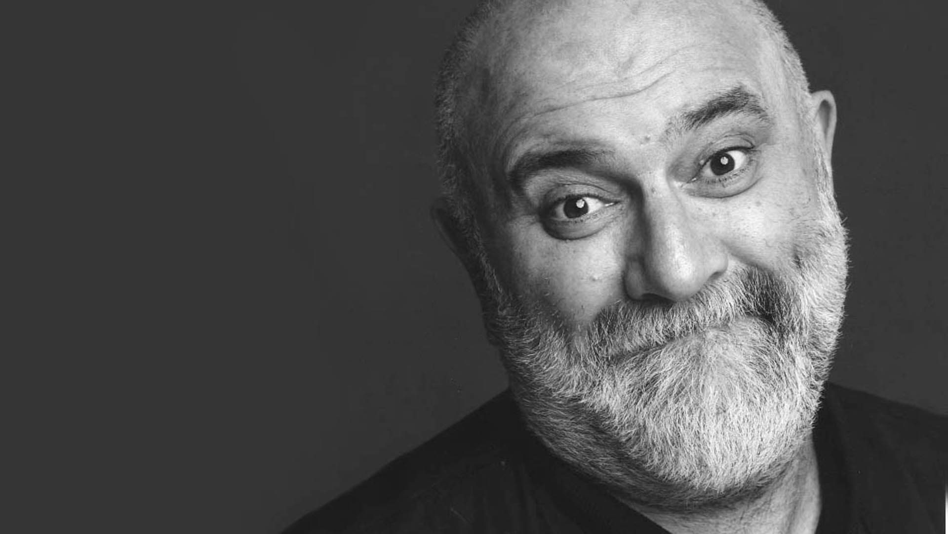 Black and white photograph of Alexei Sayle