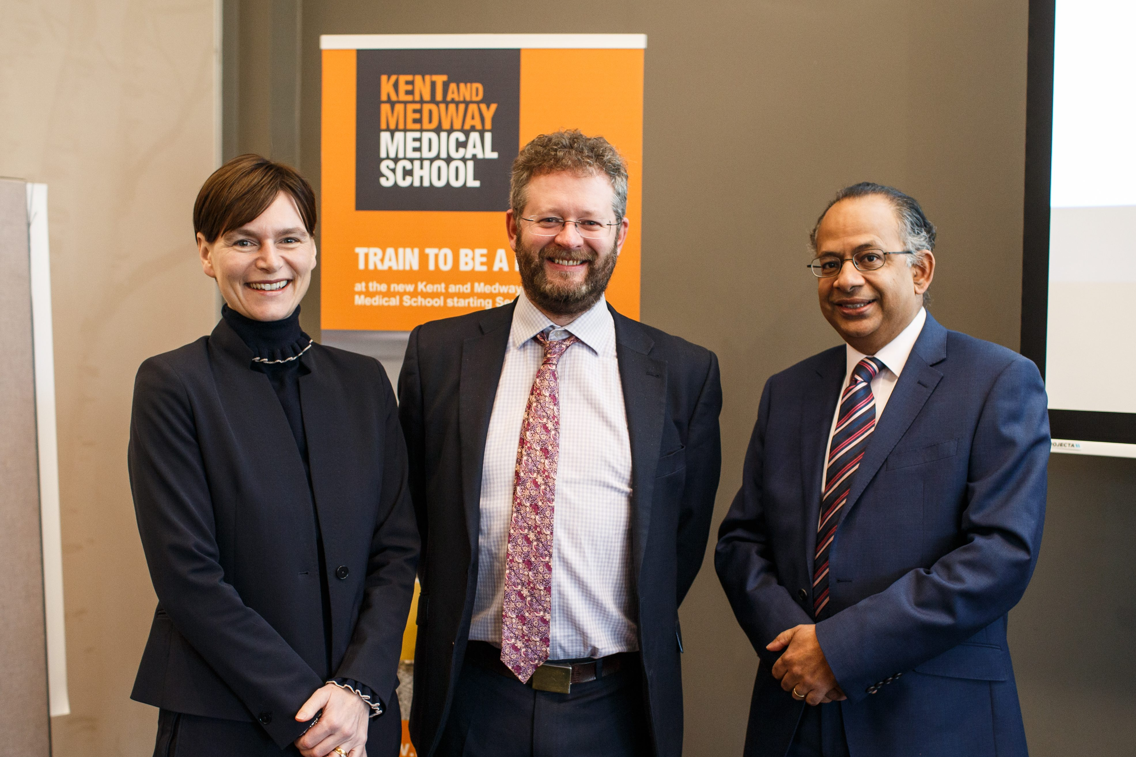 The KMMS celebration day saw the Vice-Chancellors of both universities and Founding Dean of KMMS Professor Chris Holland (centre) discuss the progress of KMMS since its inception a year ago.