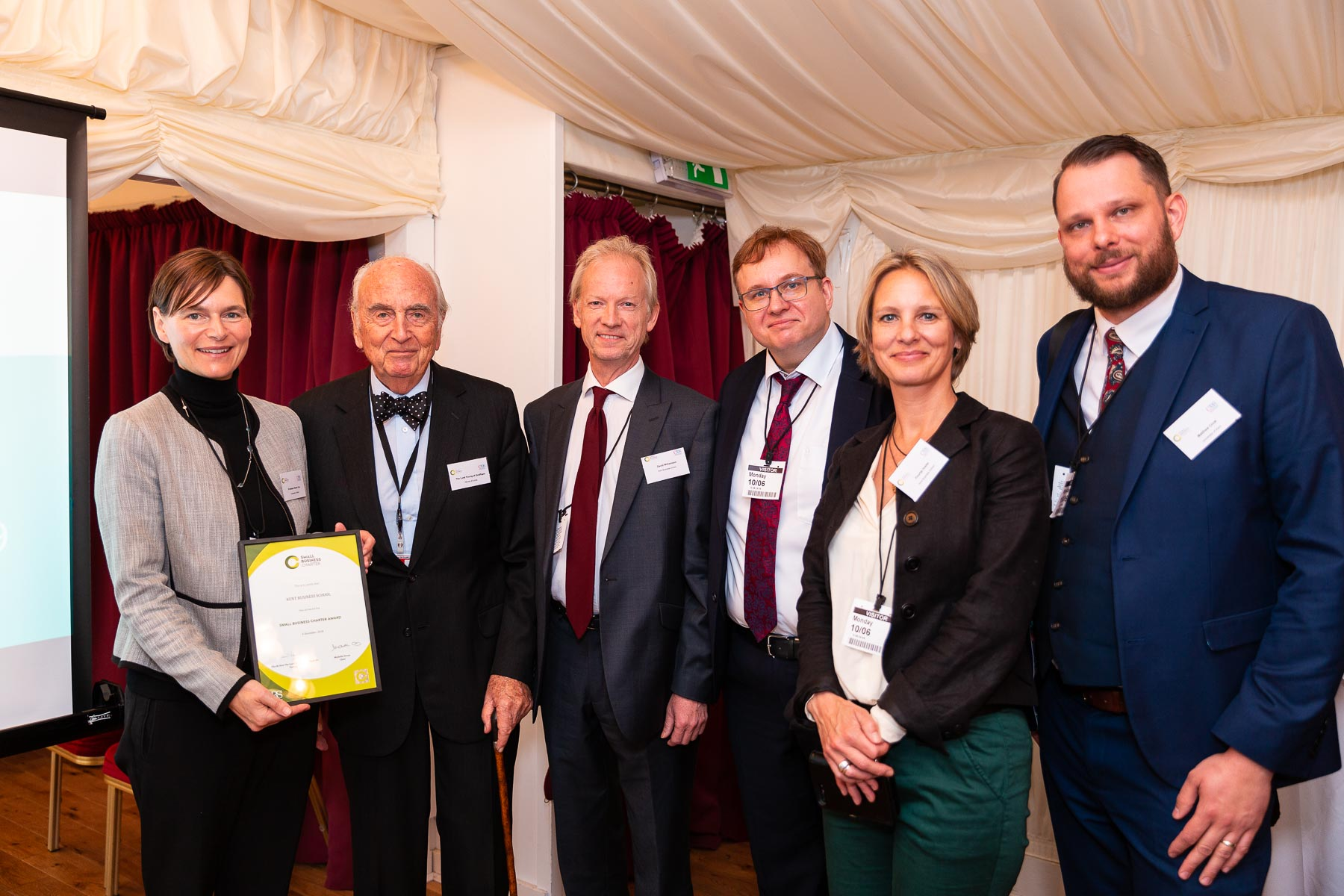 The University officially received its Small Business Charter award from Lord Young at the House of Lords.