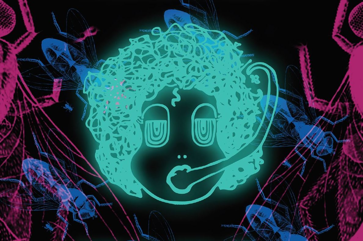 Neon graphic image of human face