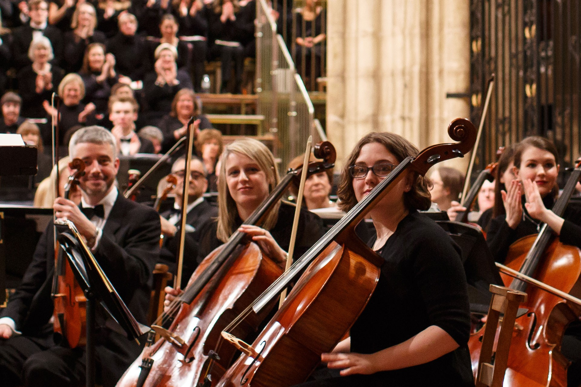 University of Kent Chorus and Symphony orchestra musicians in Canterbury Cathedral